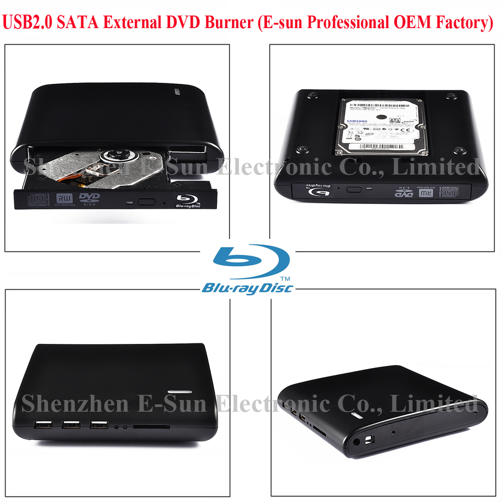 EHOD-S1-BD USB2.0 External Blu-ray Burner Writer DVD Burner with ODD HDD Solt