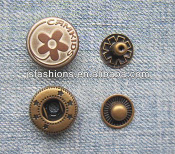 15mm metal brass spring snap button for clothings and garments four parts snap buttons JS-CR-25