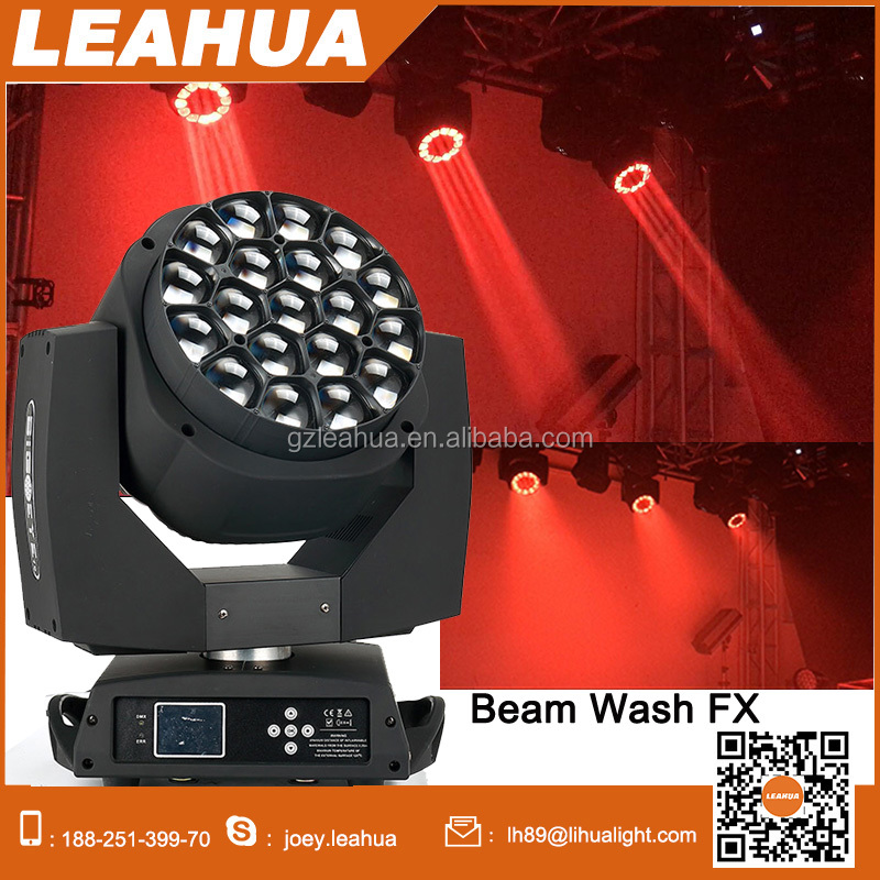 zoom K10 19*15w bee eye led moving head light with wash beam