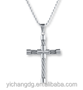 Stainless Steel Jewelry Sliver Cable Cross Pendant Necklace