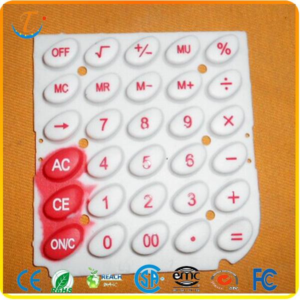 Control button rubber keypad for calculators