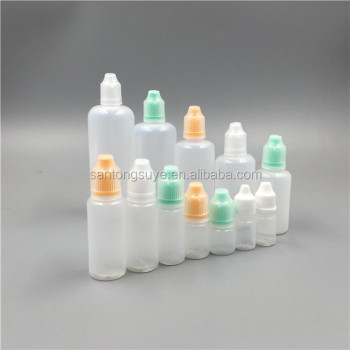 round white e-liquid bottle,empty PE plastic e-liquid bottle with tamper evident seal