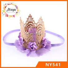Baby infant birthday lace crown headband,gold lace headband with flower