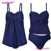 Adjustable Straps Steel Ring Paded Dark Blue Split Lady Swim Dress
