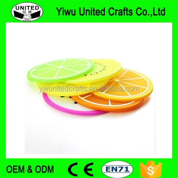 fruit slices shaped silicone grid mat tableware ,pvc table plate mats directly sale