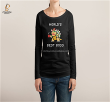 Hot Sale Scoop Neck Long Sleeve Branded T-shirt for women