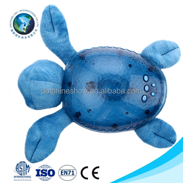 Fashion baby toy plush blue turtle night light projector cheap custom 3d led soft plush baby night light