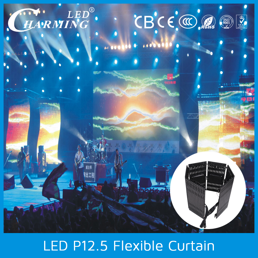 portable mobile screen P12 led curtain display IP67