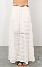 Fashion lace Long skirt for women ivory color maxi skirt with leather belt- SYK15270