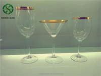 Wholeale Wine Glass with Gold Rim, Gold Rimed Wine Glass