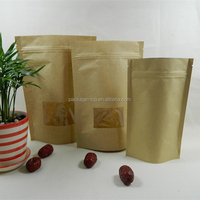 Die cut hole brown kraft paper food bag for pizza packing