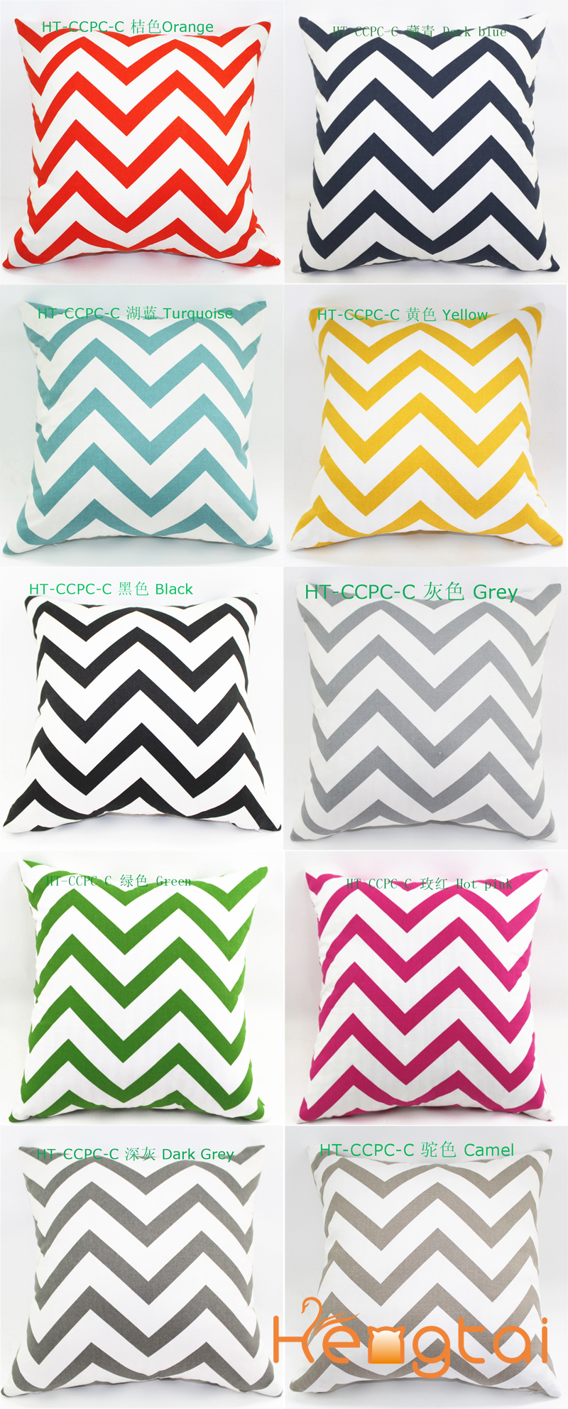 latest design Zig Zag Digital Printing Sofa Cotton Canvas Chevron Cushion Cover Throw Pillow Case china supplier