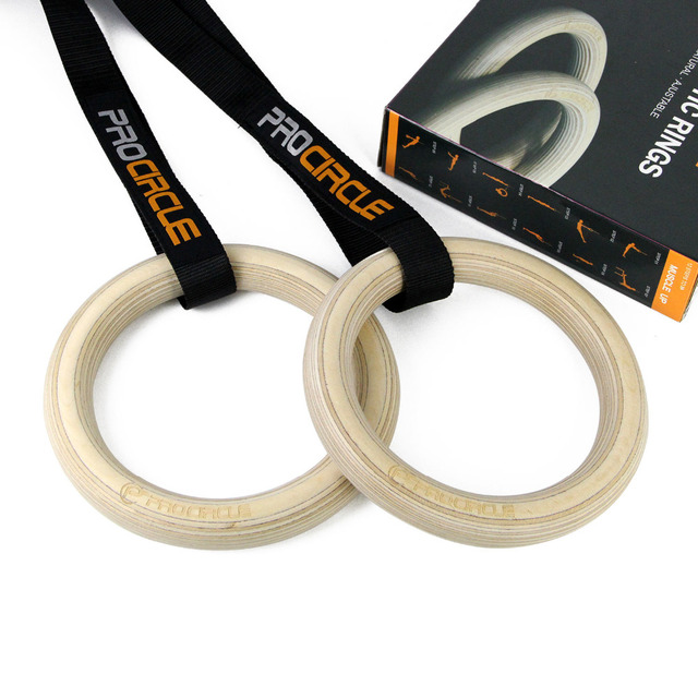 PROCIRCLE Wood Gymnastic Rings Workout For Home Gym & Cross Fitness - Great for Your Muscle Ups, Pull Ups & Strength Training