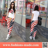 Woman Street Fashion USA Flag Harem Pants