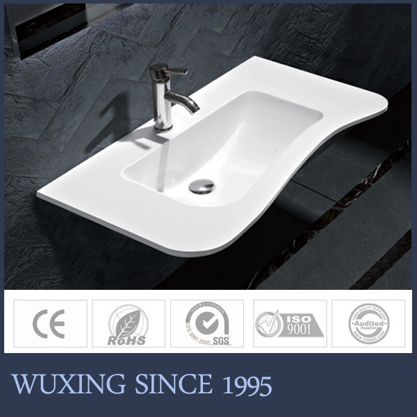 WUXING Brand WX-6039 White Single Bowl Smooth Panel Farmhouse Kitchen Sink