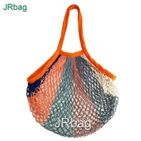 Customized 6 Colors Net Shopping Bag Cotton Market String Reusable Net Shopping Tote Bag with Long Handles Mesh Fruit Vegetables