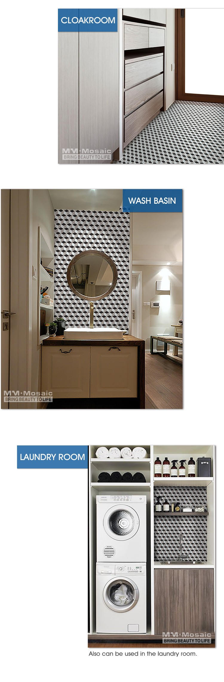 Cheap price of tile made in china brand names rhombus ceramic cube 3d mosaic wall and floor tile