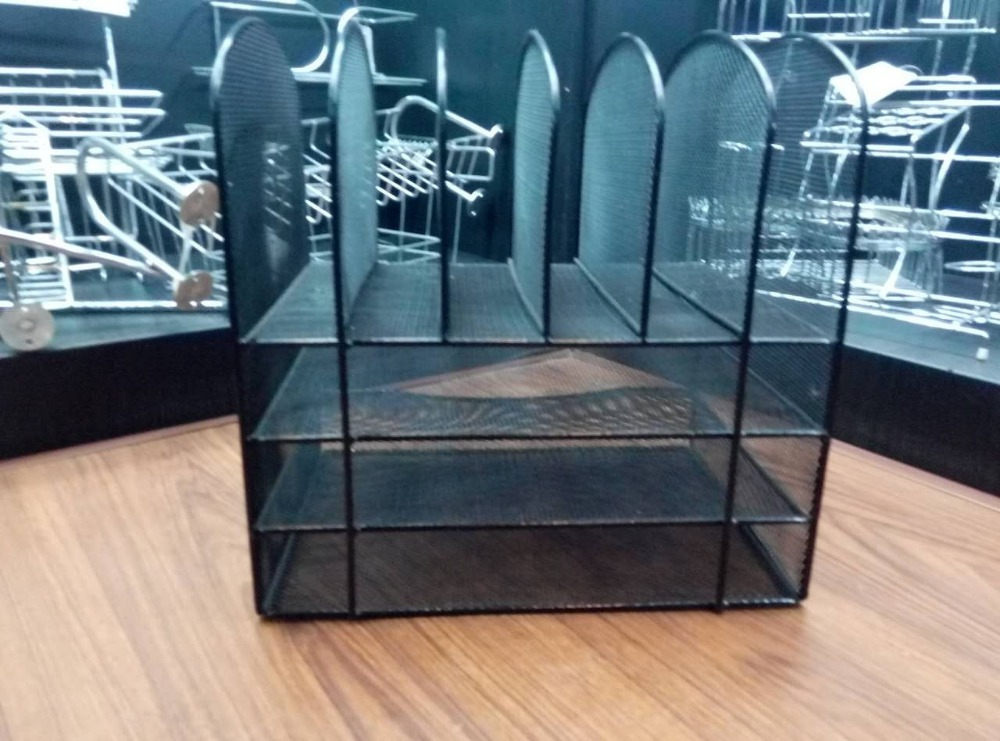 Bookshelf Black Metal Office Mesh Desk Organizer from SMD