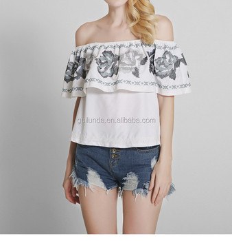 Good design women ruffle blouse off shoulder embroidered sexy tops