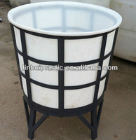 Floding plastic water barrel metal frame