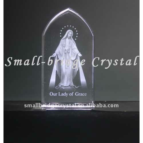 Domed crystal 3d laser Lady of Grace image
