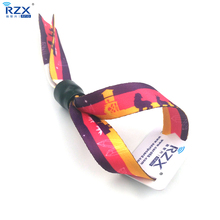 13.56Mhz customized design passive RFID woven fabric wristband for events ticketing
