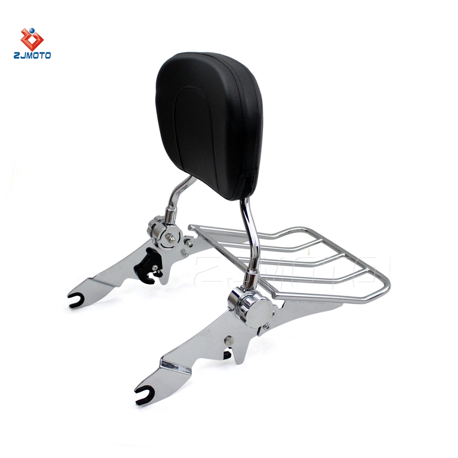 Wisdom Motorcycle Backrest Sissy Bar And Luggage Rack For 2009-2017 Harley Models with docking Hardware