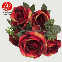 140830 Wholesale artificial flower of real touch red roses wedding bouquet for wedding decoration 90081361#
