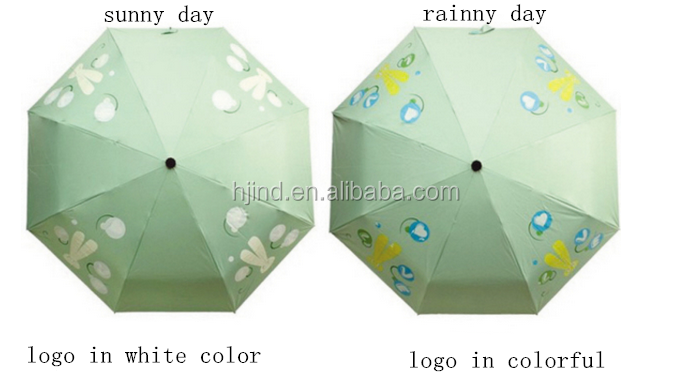change color logo wet change color printing foldable umbrella for promotional