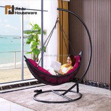 Outdoor hanging chair swing moon shape rattan bed