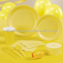 Yellow Partyware Party Supplies Including Plates, Cups, and Napkins