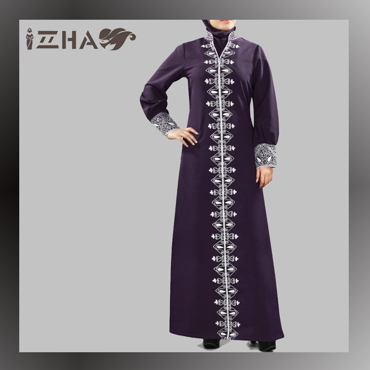 Fashion Collar Girls Jilbab Islamic Women Clothing Dubai Fashion Abaya Burqa Maxi Dress