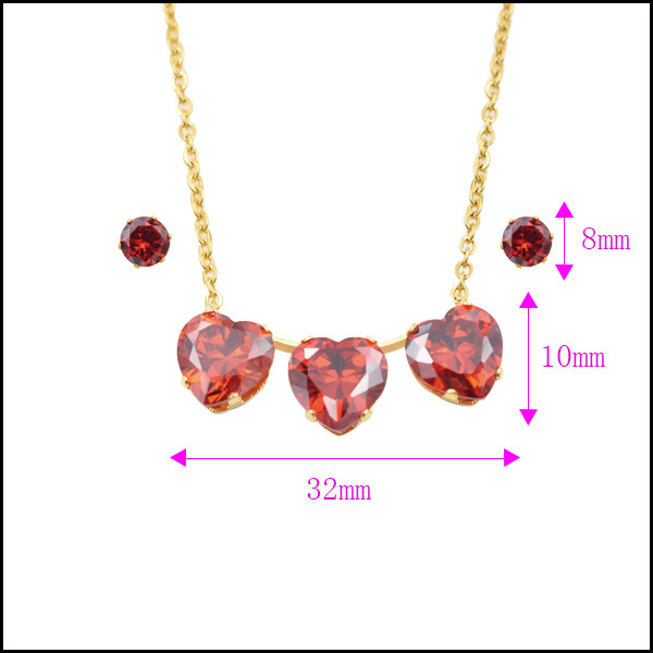 italian fashion women gold plated jewelry sets mini Ruby Heart shaped jewelery set Earrings pendant necklace set