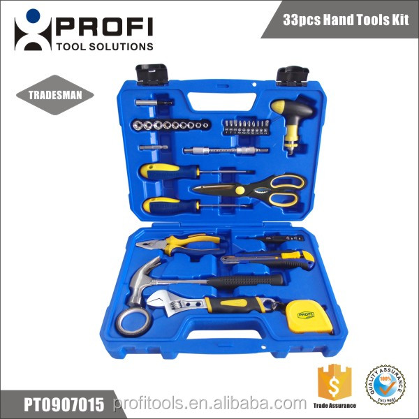 33pcs safety hand tools kit in the blue case