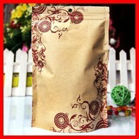 High Quality 16cm*24cm+4cm Bottom *140micron Food Zipper Bags Kraft Paper Floral Printing Packag Bags