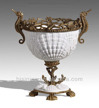 Unique Design Porcelain Marine Family Decor Flower Vase Cover Seashell, Exquisite Brass Seahorse Mounted Edge Flower Pot