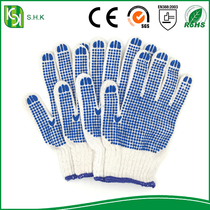 PVC Dots Coated cotton knitted hand gloves Safety work Gloves
