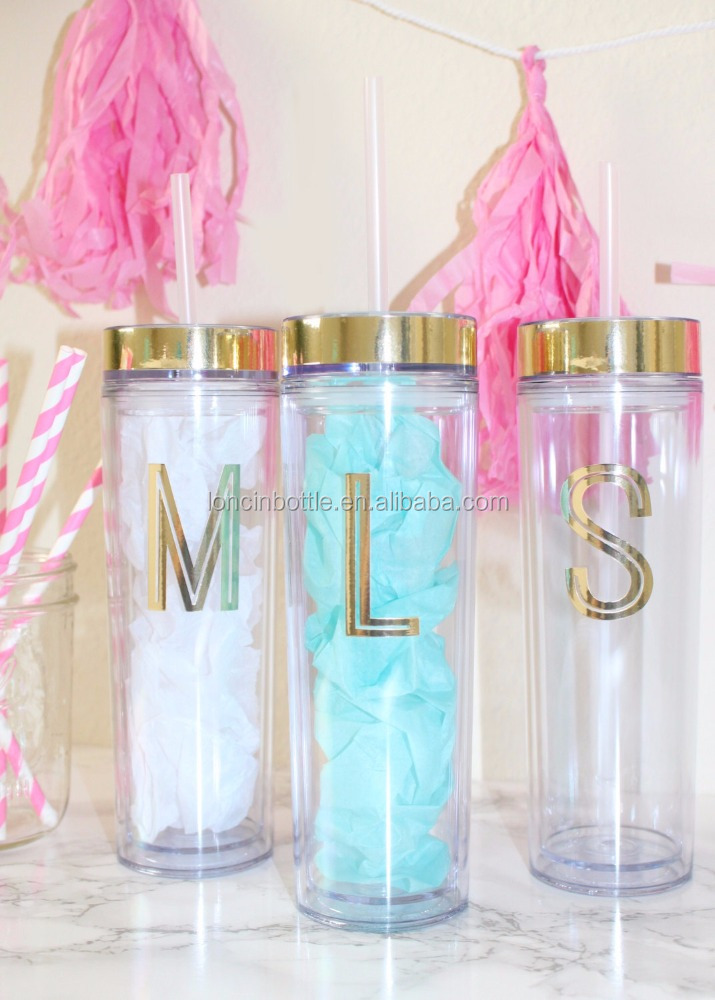 16 oz Double Wall Acrylic Tumbler Gold foil initial monogram tumbler, Party Initial Monogram Skinny Tumblers
