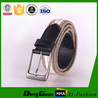 Wax secondary color brused pin buckle western braided rope cotton belt