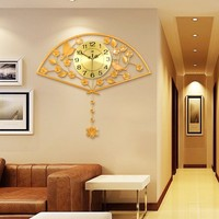 modern high quality magnificent luxurious golden fan shaped large indoor metal wall clock