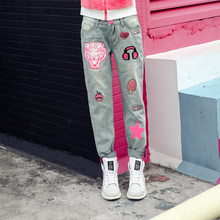 tiger personality sequins patch pants jeans