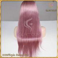 High-end Chinese remy hair full lace wig pink color ombre human hair wig