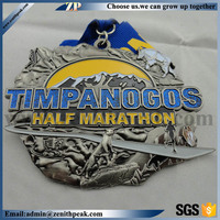 custom zinc alloy marathon medals/custom cheap running ribbon medal/zinc alloy medal