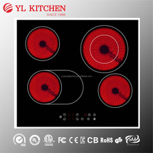 GS approval 4 burner electric ceramic hob used electric cooktop