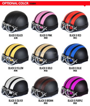 Motorcycle Helmet Bike Bicycle Helmet Scooter Open Face Half Leather Helmet with Visor UV Goggles Retro Style