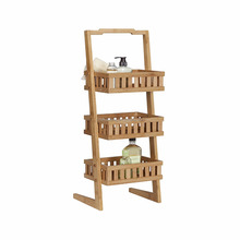 Bamboo 3-Tiered Plastic Storage Basket Shelves Free Standing Bathroom Storage Display Shelf