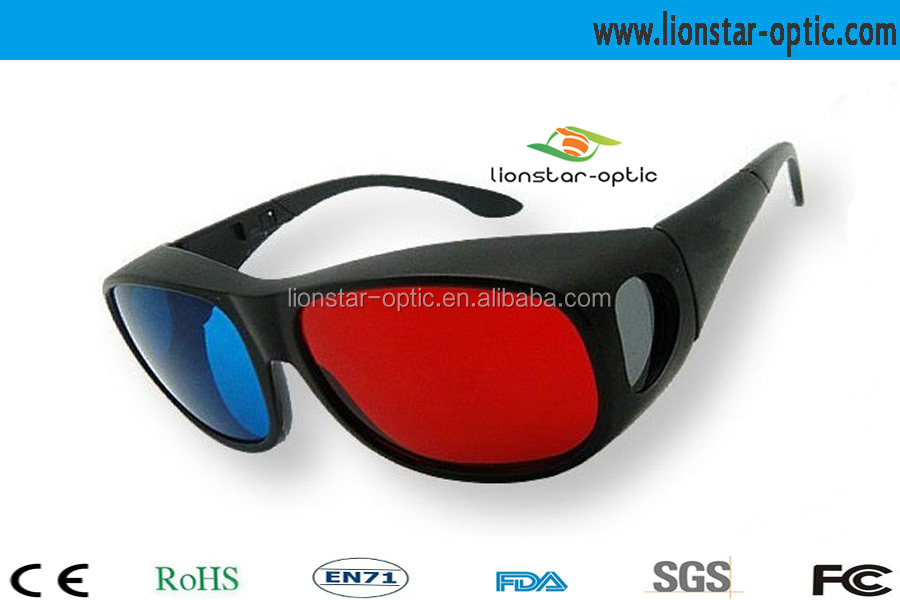 Young people love red cyan thicken lens 3d glasses for movie, tv