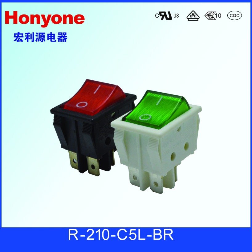 R-210-C5L-BR CQC UL CE rocker switch 4 pin on-off 4pin on off