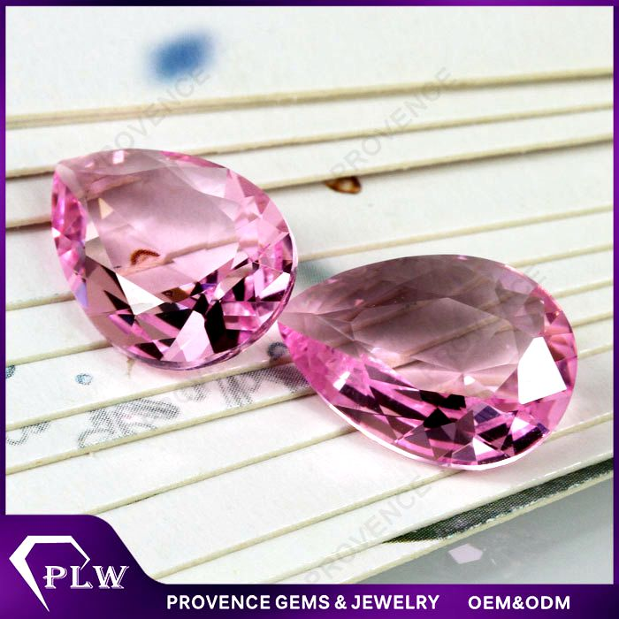 Factory Price Pear Shape Pink Synthetic Crystal Glass Gemstone