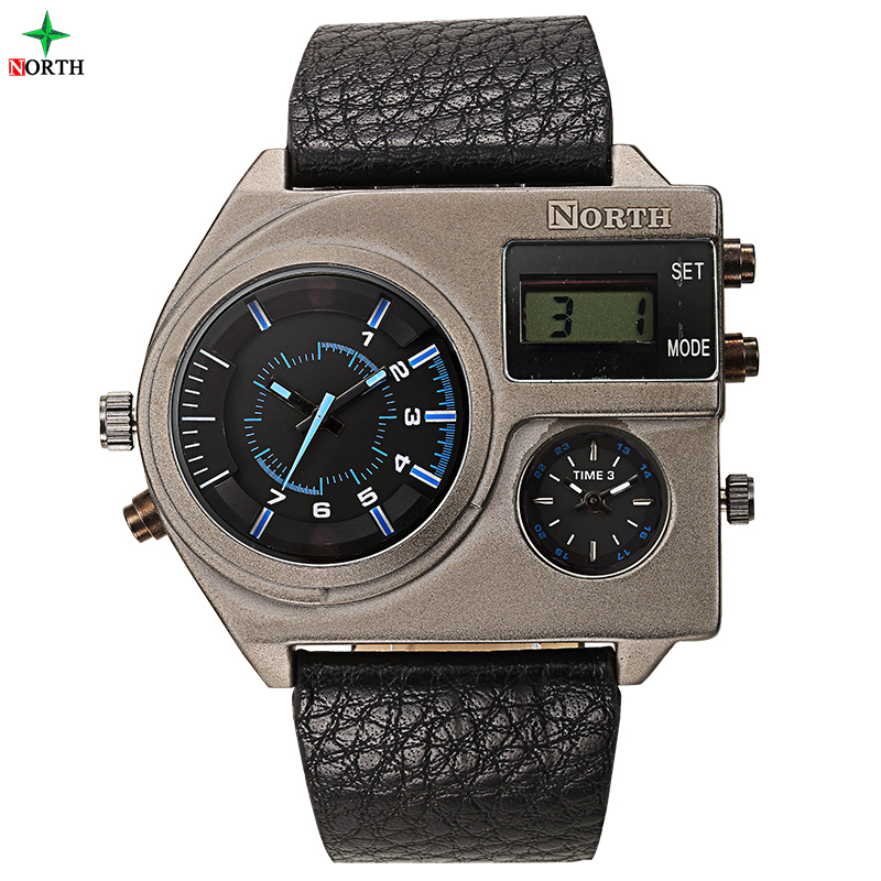 Armbanduh waterproof Alloy metal case watch blue luminous hands leather band watches with North logo and Japan Movt